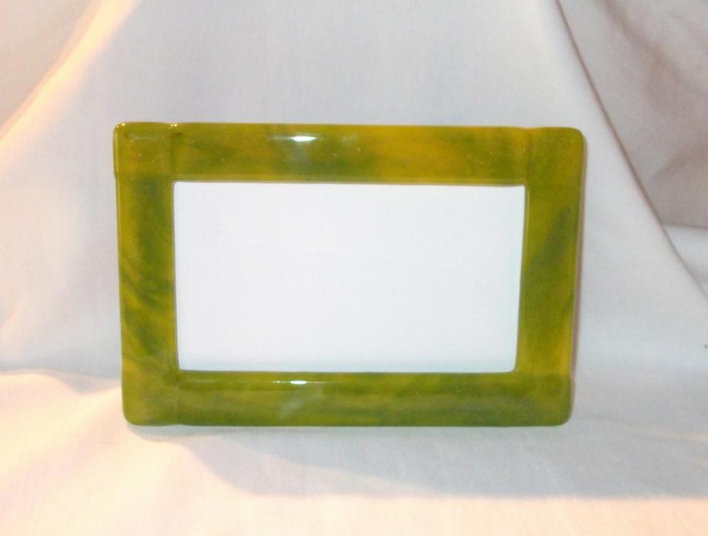 Handmade Picture Frame, Green Fused Glass
